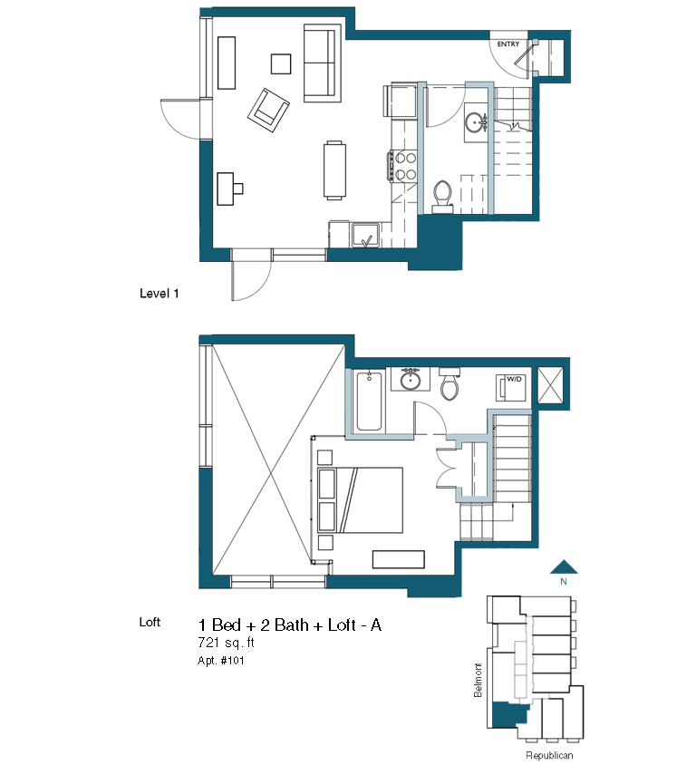 1 bed 2 bath with loft version A