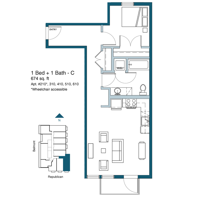 1 bed floor plan version C