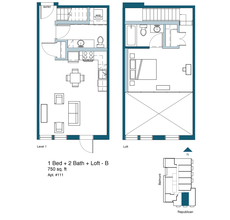 1 bed 2 bath with loft floor plan version B