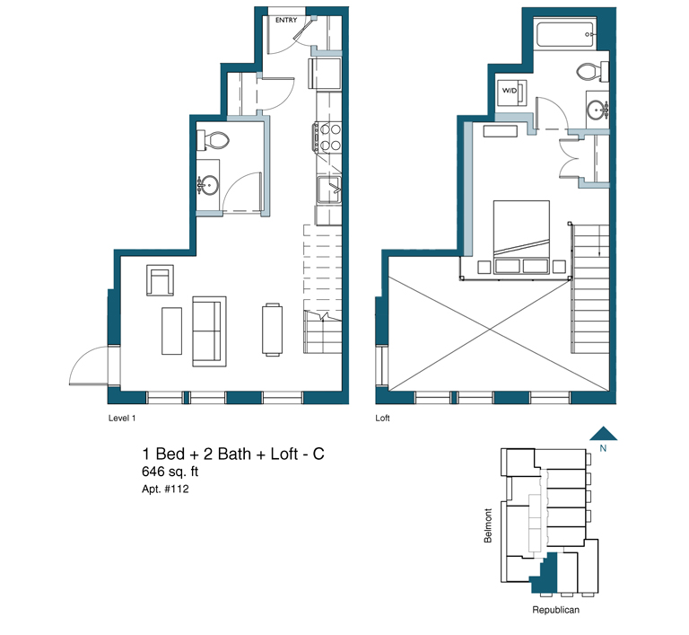 1 bed 2 bath with loft floor plan version C